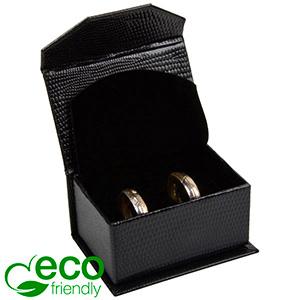 Nice ECO Jewellery Box for Wedding Rings/Cufflinks Black Croco Leatherette Cardboard/ Black Foam 67 x 45 x 35 (60 x 40 x 30 mm)