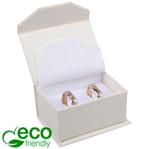 Nice ECO Jewellery Box for Wedding Rings/Cufflinks Cream Croco Leatherette Cardboard/ White Foam 67 x 45 x 35 (60 x 40 x 30 mm)