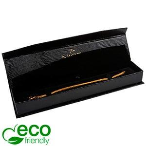 Nice ECO Jewellery Box for Bracelet Black Croco Leatherette Cardboard/ Black Insert 227 x 50 x 26 (219 x 41 x 17 mm)