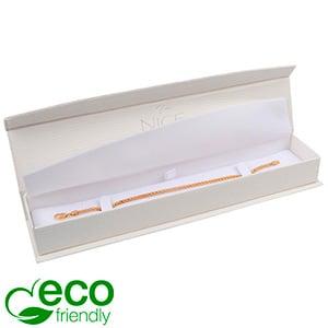 Nice ECO Jewellery Box for Bracelet Cream Croco Leatherette Cardboard/ White Insert 227 x 50 x 26 (219 x 41 x 17 mm)