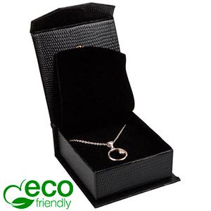 Nice ECO Jewellery Box for Pendant/Earrings/Brooch Black Croco Leatherette Cardboard/ Black Foam 65 x 70 x 27 (57 x 64 x 24 mm)