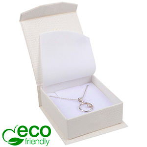 Nice ECO Jewellery Box for Pendant/Earrings/Brooch Cream Croco Leatherette Cardboard/ White Foam 65 x 70 x 27 (57 x 64 x 24 mm)