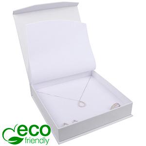 Milano ECO Jewellery Box for Necklace White Soft-Touch Cardboard/White Foam 165 x 165 x 35 (159 x 159 x 24 mm)