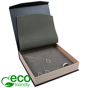 Milano ECO Jewellery Box for Necklace Pearl Grey - Silver Cardboard / Grey Interior 165 x 165 x 35