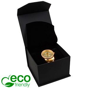 Milano ECO sieradendoosje voor horloge Mat zwart kunstleer / Zwart interieur 100 x 100 x 70