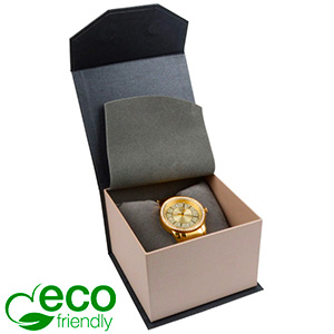 Milano ECO Jewellery Box for Watch Pearl Grey - Silver Cardboard / Grey Interior 100 x 100 x 70