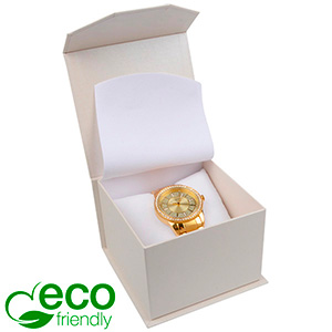 Milano ECO Jewellery Box for Watch Pearl White Cardboard / White Interior 100 x 100 x 70
