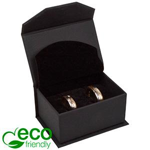 Milano ECO Jewellery Box Wedding Rings/ Cufflinks Matt Black Leatherette / Black Foam Interior 67 x 46 x 35