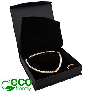 Milano ECO Jewellery Box for Necklace Matt Black Leatherette / Black Interior 165 x 165 x 35