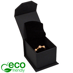 Milano ECO Jewellery Box for Ring Matt Black Leatherette / Black Foam 47 x 52 x 39