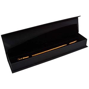 Milano ECO aflang smykkeæske til armbånd Mat sort kunstlæder  / Sort indsats 227 x 50 x 26