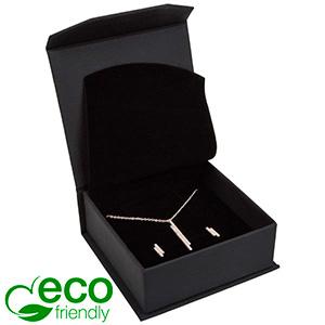 Milano ECO smykkeæske til halskæde / armbånd Mat sort kunstlæder  / Sort indsats 85 x 81 x 32