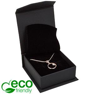 Milano ECO smykkeæske til øreringe / vedhæng Mat sort kunstlæder  / Sort indsats 65 x 70 x 27