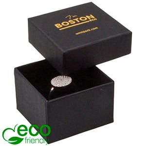 Boston ECO sieradendoosje voor ring Mat zwart FSC®-gecertificeerd karton/ Zwart foam 50 x 50 x 32