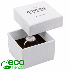 Boston ECO Jewellery Box for Ring Grainy White FSC®-certified / White-Black Foam 50 x 50 x 32
