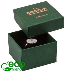 Boston ECO sieradendoosje voor ring Donkergroen FSC®-gecertificeerd karton/ Zwart foam 50 x 50 x 32
