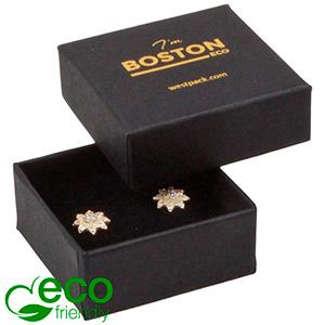 Boston ECO smykkeæske til øreringe / ørestikker Mat sort FSC®-certificeret karton/ Sort skum 50 x 50 x 22