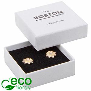 Boston ECO sieradendoosje oorbellen/ oorknopjes Wit FSC®-gecertificeerd karton/ Wit-zwart foam 50 x 50 x 22