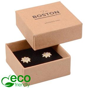 Boston ECO smykkeæske til øreringe / ørestikker Mat naturfarvet FSC®-certificeret karton/Sort skum 50 x 50 x 22