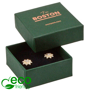 Boston ECO sieradendoosje oorbellen/ oorknopjes Donkergroen FSC®-gecertificeerd karton/ Zwart foam 50 x 50 x 22