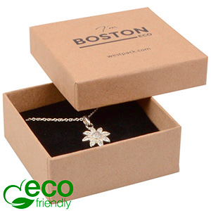 Boston ECO Jewellery Box Drop Earrings / Pendant Matt Brown FSC®-certified Cardboard / Black Foam 65 x 65 x 25