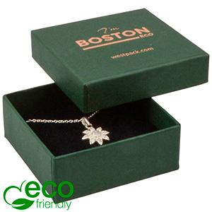 Boston ECO smykkeæske til øreringe / vedhæng Mat mørkegrøn FSC®-certificeret karton/ Sort skum 65 x 65 x 25
