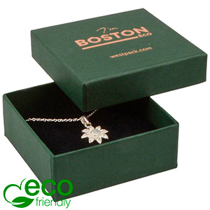 Boston ECO Jewellery Box Drop Earrings / Pendant Dark Green FSC®-certified Cardboard/ Black Foam 65 x 65 x 25