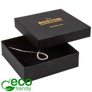 Boston ECO Jewellery Box for Large Pendant/ Bangle Matt Black FSC®-certified Cardboard / Black Foam 86 x 86 x 26