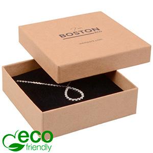 Boston ECO smykkeæske til halskæde / armbånd Mat naturfarvet FSC®-certificeret karton/Sort skum 86 x 86 x 26
