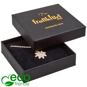 Frankfurt ECO ekstra flad smykkeæske til vedhæng Mat sort FSC®-certificeret karton/ Sort skum 65 x 65 x 17