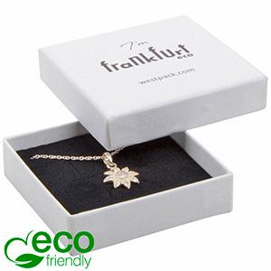 Frankfurt ECO ekstra flad smykkeæske til vedhæng Hvid FSC®-certificeret karton / Hvid-sort skum 65 x 65 x 17