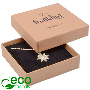 Frankfurt ECO ekstra flad smykkeæske til vedhæng Mat naturfarvet FSC®-certificeret karton/Sort skum 65 x 65 x 17