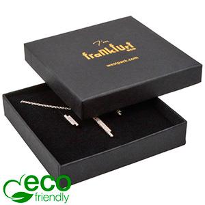 Frankfurt ECO ekstra flad smykkeæske til halskæde Mat sort FSC®-certificeret karton/ Sort skum 86 x 86 x 17