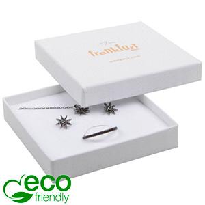Frankfurt ECO ekstra flad smykkeæske til halskæde Hvid FSC®-certificeret karton / Hvid-sort skum 86 x 86 x 17