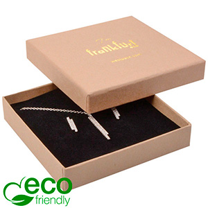 Frankfurt ECO ekstra flad smykkeæske til halskæde Mat naturfarvet FSC®-certificeret karton/Sort skum 86 x 86 x 17