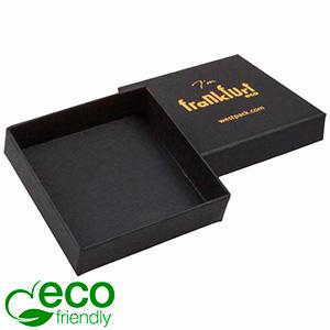 Frankfurt ECO smykkeæske til øreringe / Halskæde Mat sort karton / Uden indsats 65 x 65 x 17