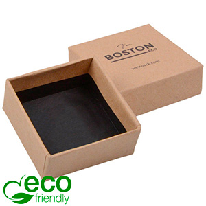 Boston ECO Box for Earrings / Small Pendant Matt Plain Brown Cardboard / Without Insert 50 x 50 x 22