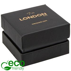 London ECO Jewellery Box for Ring Black Soft-Touch Cardboard/Black Collar/Black Foam 50 x 50 x 35 (44 x 44 x 31 mm)