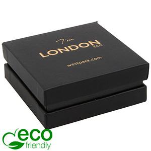 London ECO smykkeæske til øreringe / vedhæng Sort soft-touch karton/Sort mellemstykke/Sort skum 65 x 65 x 25 (59 x 59 x 22 mm)