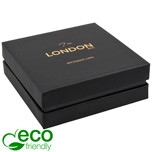 London ECO Jewellery Box for Bangle /Large Pendant Black Soft-Touch Cardboard/ Black Foam 86 x 86 x 30 (79 x 79 x 27 mm)
