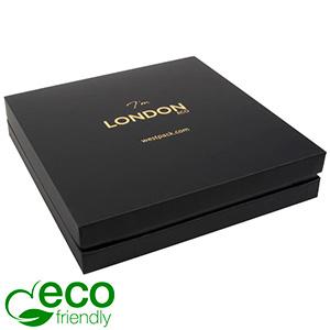 London ECO smykkeæske til collier / halskæde Sort soft-touch karton/Sort mellemstykke/Sort skum 167 x 167 x 35 (159 x 159 x 32 mm)
