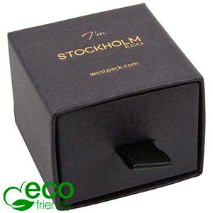 Stockholm ECO smykkeæske til ring/ørestikker Sort karton med struktur / Sort skumindsats 50 x 50 x 40 (43 x 46 x 21 mm)