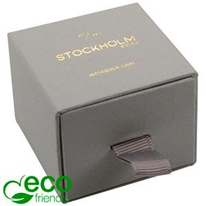 Stockholm ECO Jewellery Box for Ring/Stud Earrings Grey Buckram Cardboard/ Black Foam 50 x 50 x 40 (43 x 46 x 21 mm)