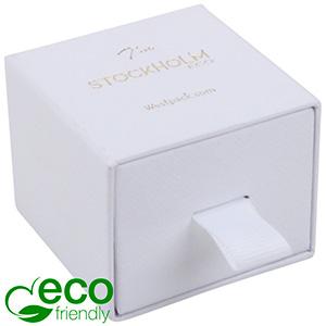 Stockholm ECO Jewellery Box for Ring/Stud Earrings White Buckram Cardboard/ White Foam 50 x 50 x 40 (43 x 46 x 21 mm)