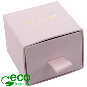 Stockholm ECO smykkeæske til ring/ ørestikker Rosa karton med struktur / Sort skumindsats 50 x 50 x 40 (43 x 46 x 21 mm)