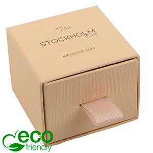 Stockholm ECO Jewellery Box for Ring/Stud Earrings Warm Beige Buckram Cardboard/ Black Foam 50 x 50 x 40 (43 x 46 x 21 mm)