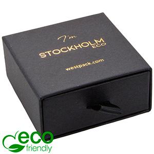 Stockholm ECO smykkeæske til øreringe / vedhæng Sort karton med struktur / Sort skumindsats 65 x 65 x 30 (58 x 60 x 15 mm)