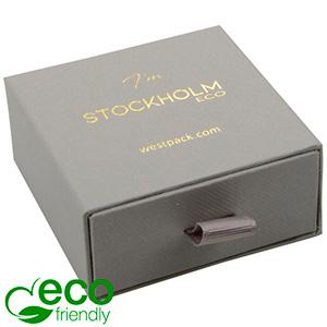 Stockholm ECO smykkeæske til øreringe / vedhæng Grå karton med struktur / Sort skumindsats 65 x 65 x 30 (58 x 60 x 15 mm)