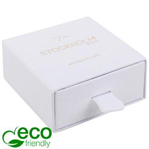 Stockholm ECO Jewellery Box Drop Earrings/Pendant White Buckram Cardboard/ White Foam 65 x 65 x 30 (58 x 60 x 15 mm)