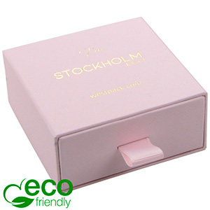 Stockholm ECO smykkeæske til øreringe / vedhæng Rosa karton med struktur / Sort skumindsats 65 x 65 x 30 (58 x 60 x 15 mm)